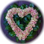 Rouwkrans Hart - Roze Rozen